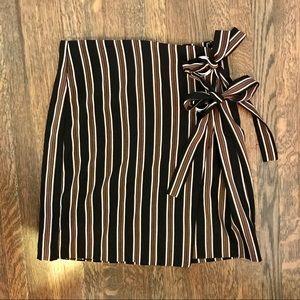 UO Grommet-Tie Striped Wrap Mini Skirt